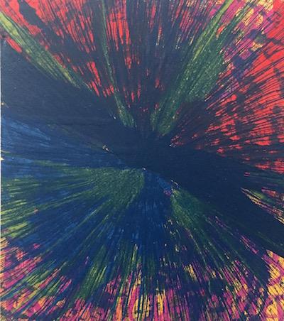 BLEU  Thierry Alet 2017 Mixed media sur bois 80 x 70 cm. Série : Damien