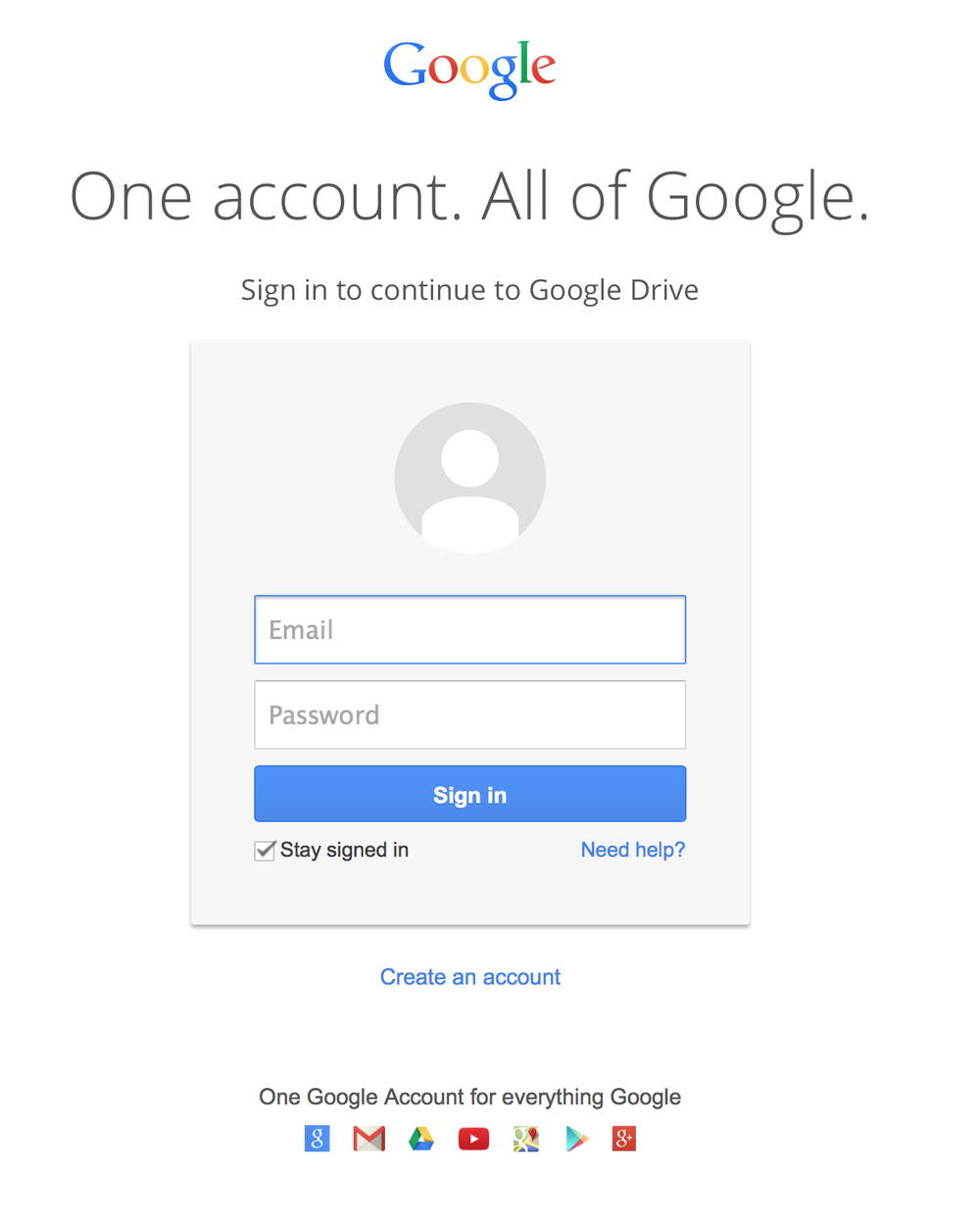 This is the landing page for Google when you are requesting access to the Drive.
