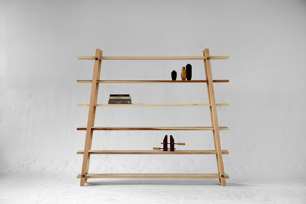 Hardwood and steel modular shelving.  No woodscrews to strip over time, just four simple wingnuts and a great design.