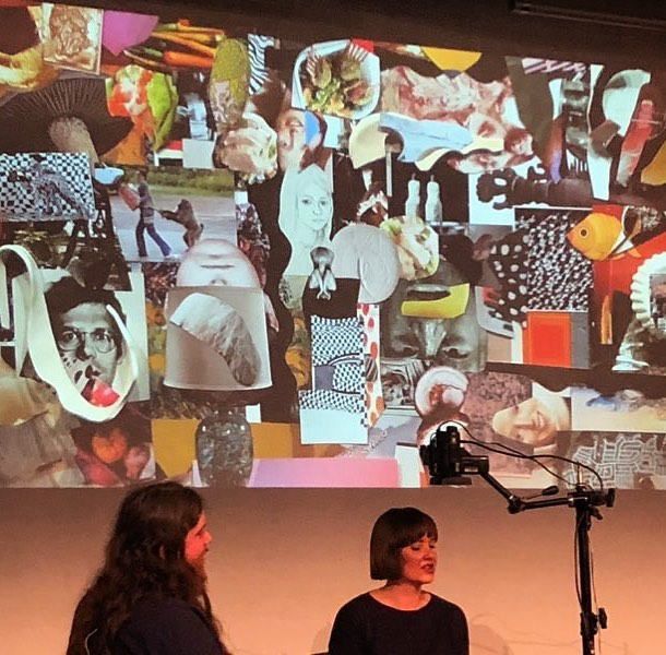 Well that was tres fun!! Here I am with @alasdairmcluckie in front of a projection of our collaborative collage we created live on the @melbwritersfest stage today! Such a joy! ❤️