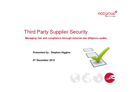 Third Party Supplier Security - Stephen Higgins, NCC Group