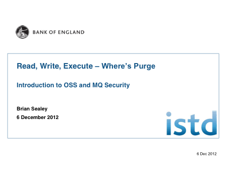 Read, Write, Execute – Where's Purge - Brian Sealey, Bank of England