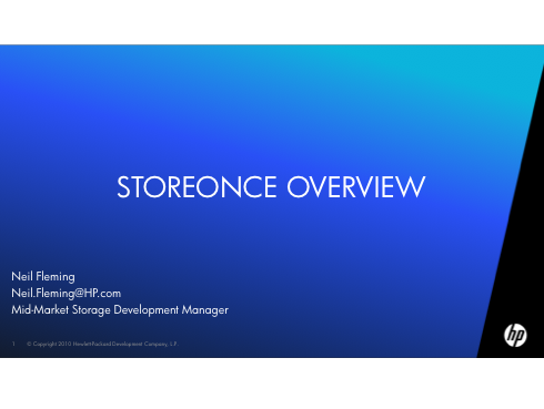 StoreOnce Overview - HP
