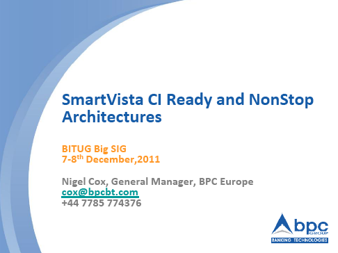 SmartVista CI Ready and NonStop Architectures - BPC