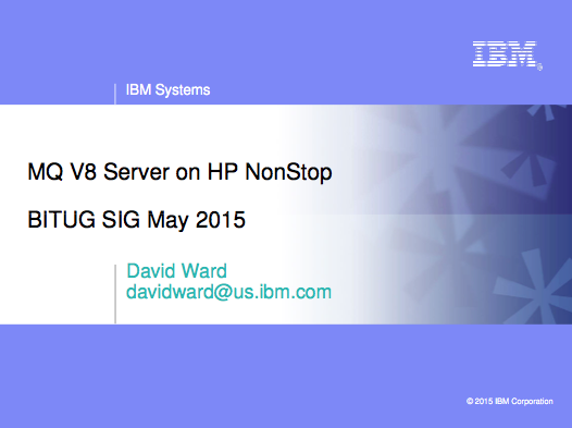 MQ V8 - IBM - David Ward