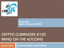 Crypo Currencies - Damian Ward - Vocalink/Mastercard/BITUG