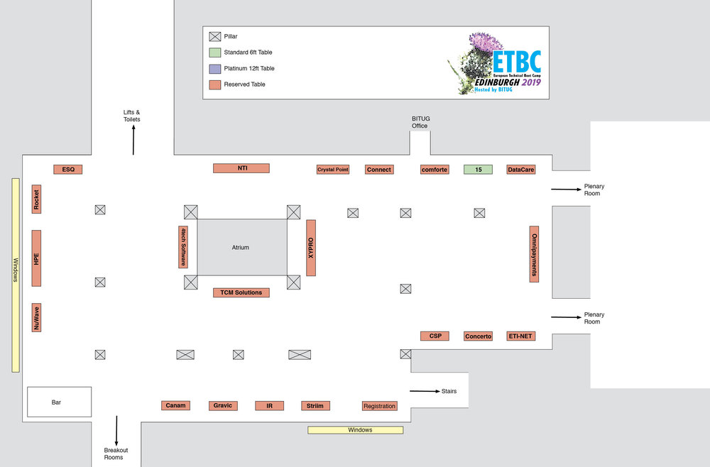eBITUG 2019 booth plan - last updated 26th April