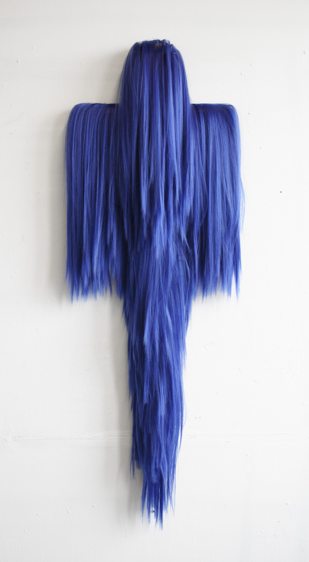 """Sacramental""  110 cm x 40cm Blue Futura Yuki synthetic hair and wood 2015"