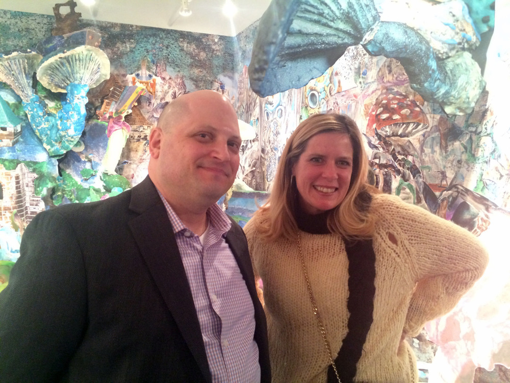 Art Collector Monica Welsh with Jonathan Levine  at the opening of his new gallery on 23rd street.    jonathanlevinegallery.com     artists-anonymous.com