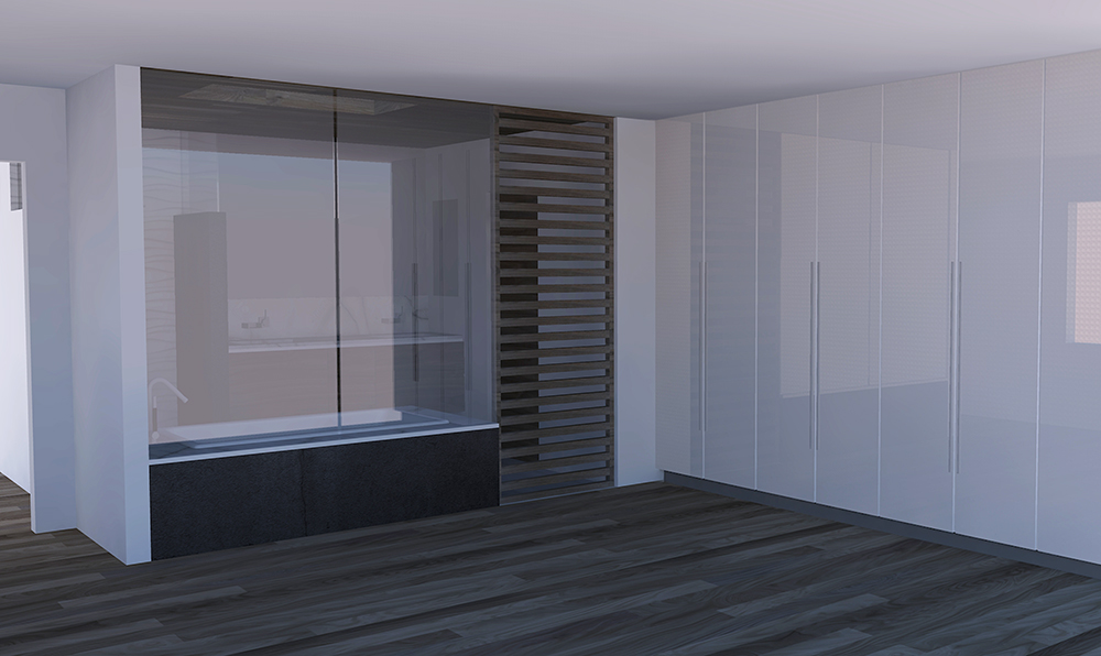 Rendering showing partition privacy glass and custom door
