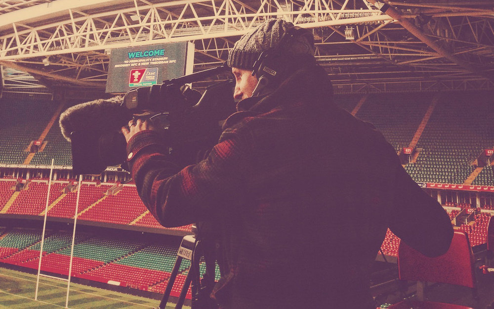 Jonny Filming at Millenium Stadium Cardiff. The home of Welsh Rugby