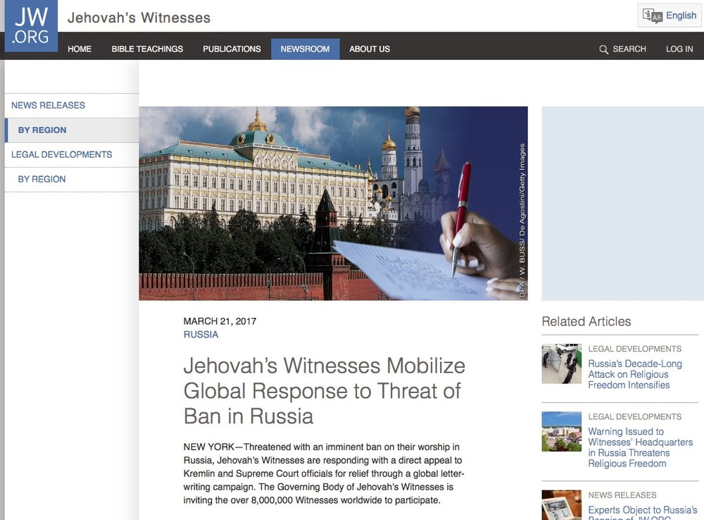 Screen grab of the article on www.jw.org