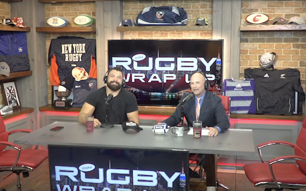 Alex Corbisieropresenter of NBC Rugby Coverage and former Star prop of England Rugby, British & Irish Lions, Northampton Saints and London Irish in the Rugby Wrap Up New York studio with host Matt McCarthy