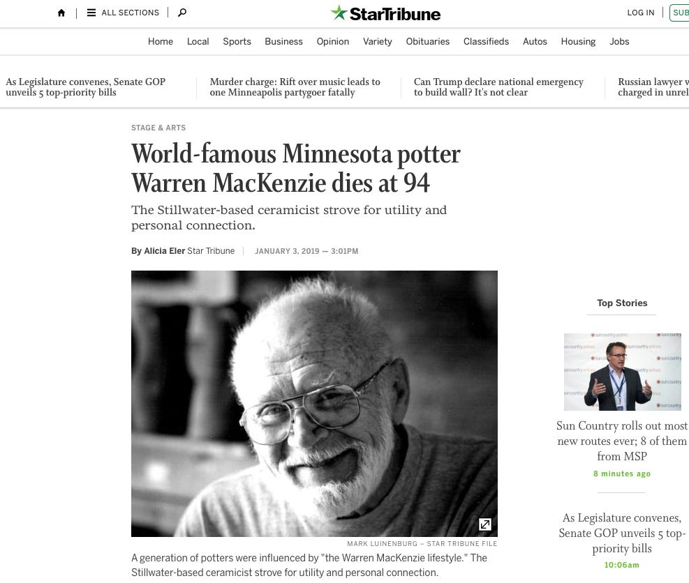 Warren MacKenzie - World-famous potter dies at 94
