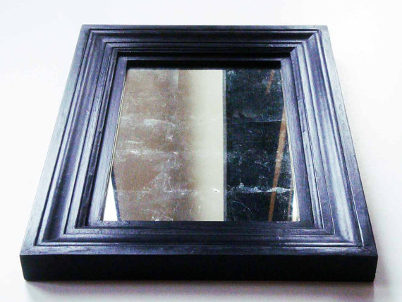 12K White Gold Mirror, Waxed Black Handmade Frame