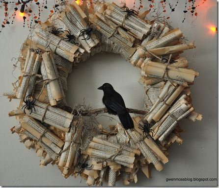 Fangtastically creepy bookish things book wreath a book for Things to make for halloween decorations