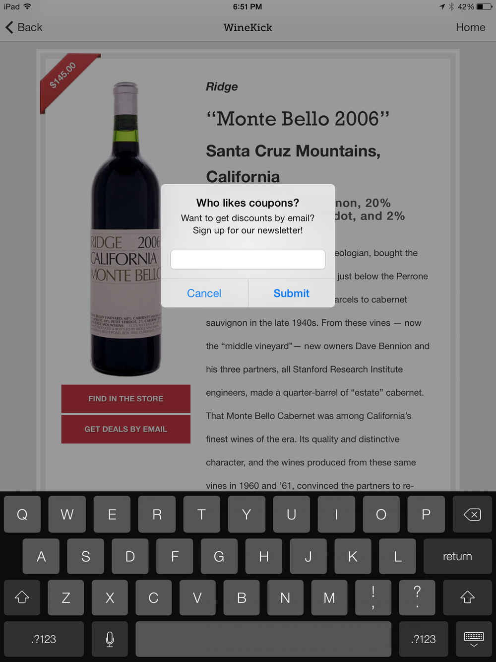 wine recommendation kiosk app collect email addresses newsletter retail store