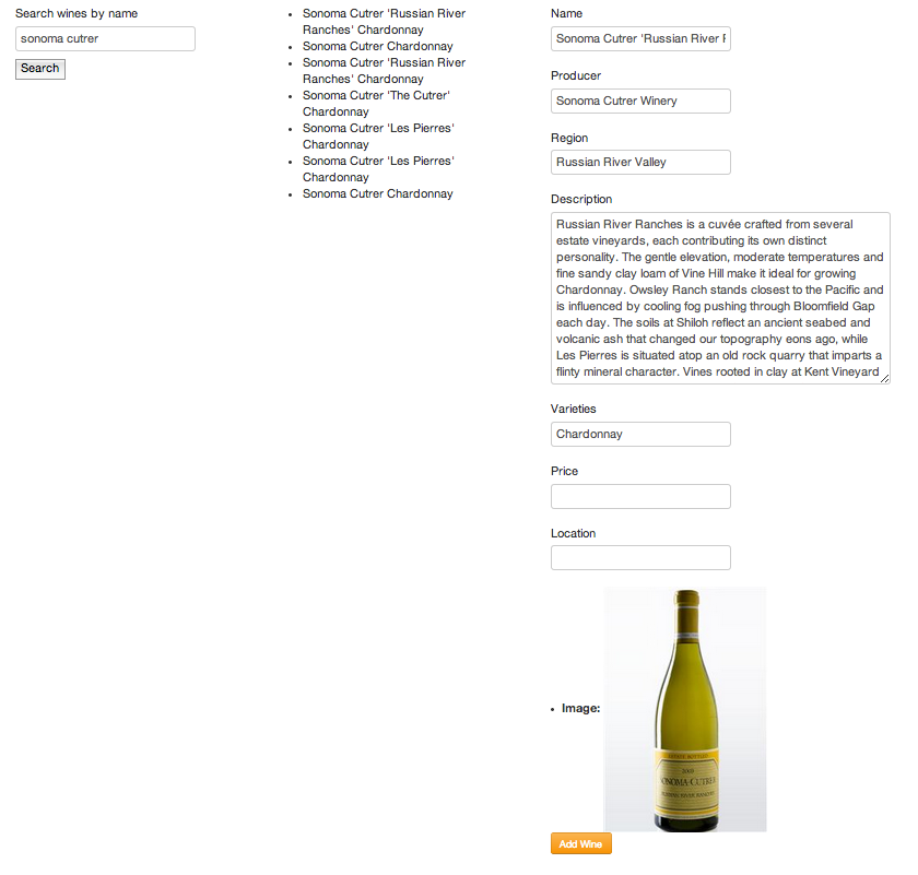 wine kiosk searchable bottle database