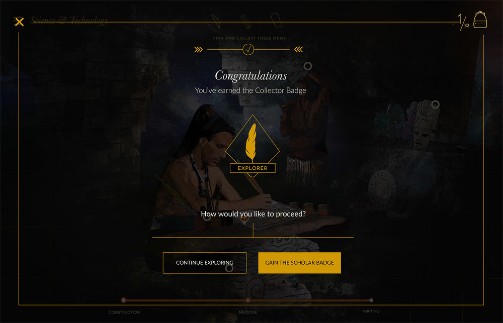 After answering the trivia correctly the player collects the object. Two options are presented, either continue answering trivia for more points or go back to the game.