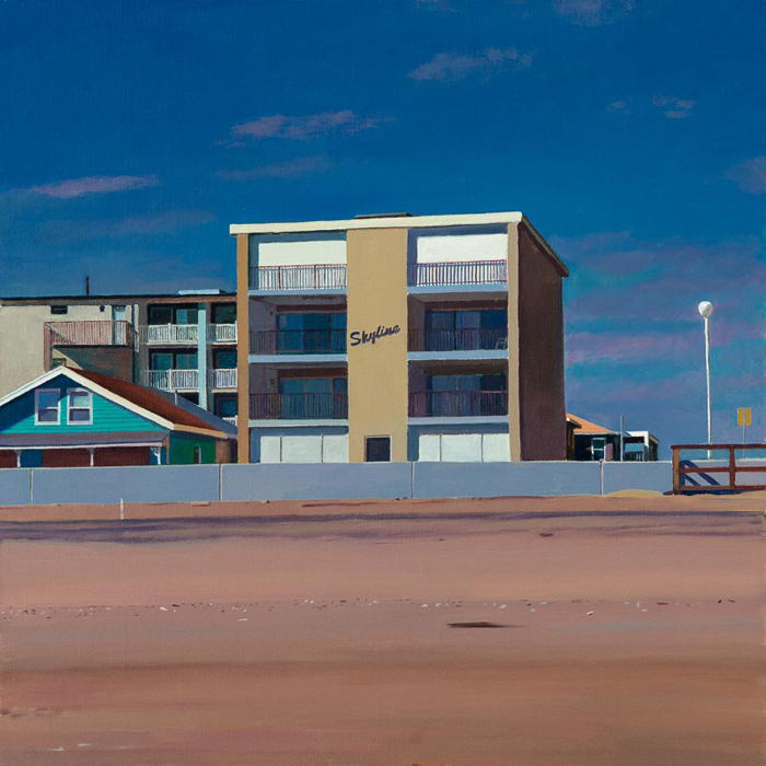 """Skyline Motel"", 16"" x 16"", oil on linen panell"