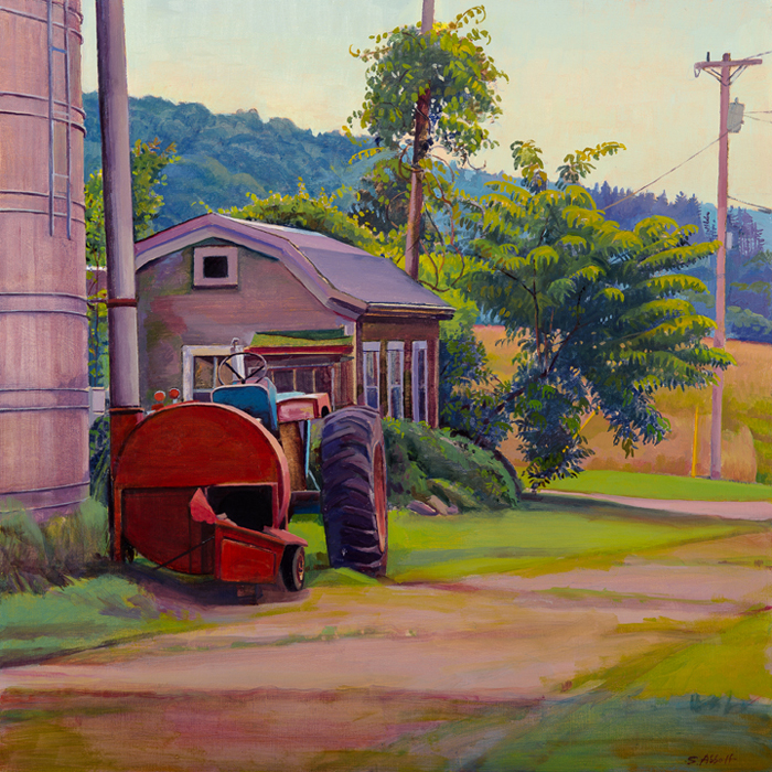 """Silo and Shed"", 16"" x 16"", oil on linen panel"