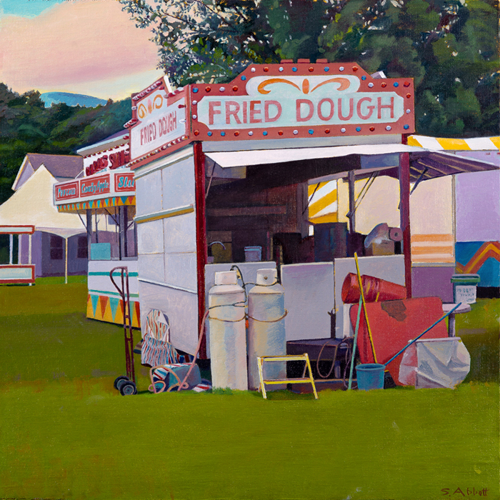 """Town Fair, Snack Stand"", oil on linen panel, 16"" x 16"""