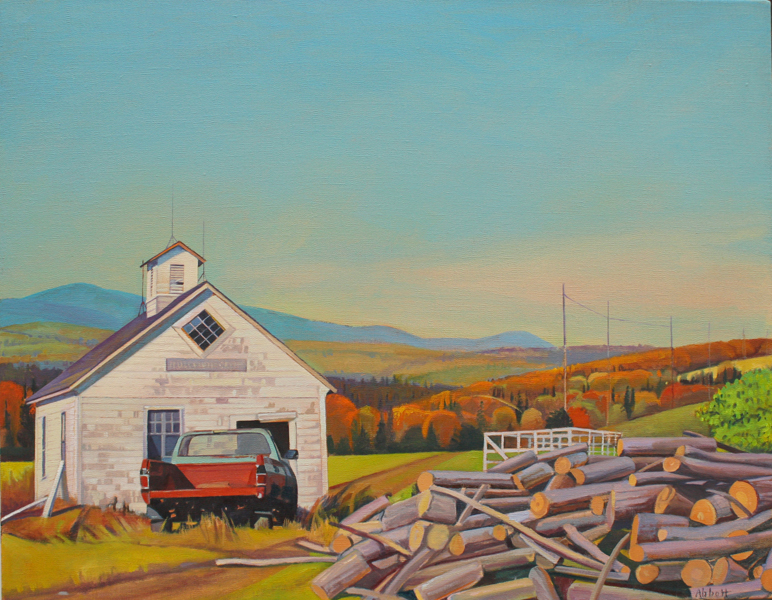 """Red Truck and Wood Pile"", 22"" x 28"", oil on linen"