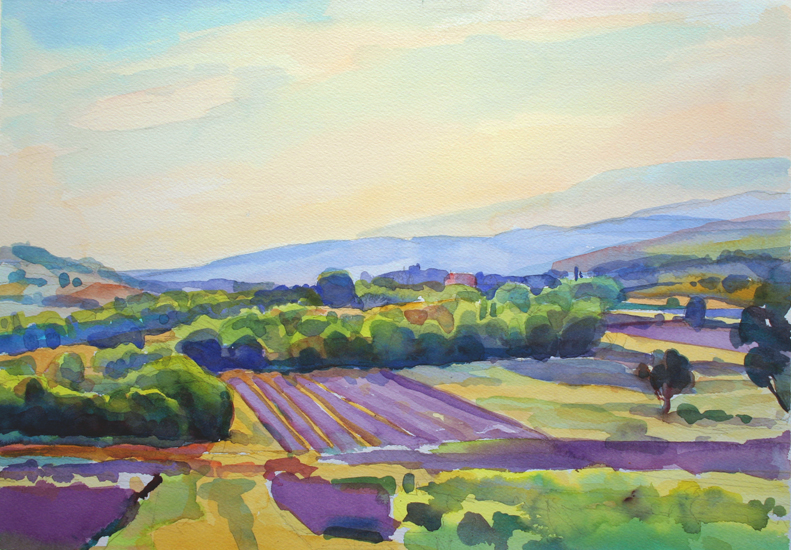 """Lavender Fields at Dusk, Provence"", 10"" x 14"", watercolor"