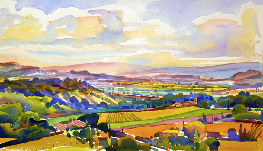 """View from Les Bassacs, Provence"", 12"" x 16"", watercolor"