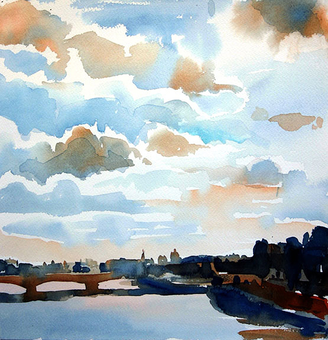 """Clouds Over the Seine"", 12"" x 12"", watercolor"