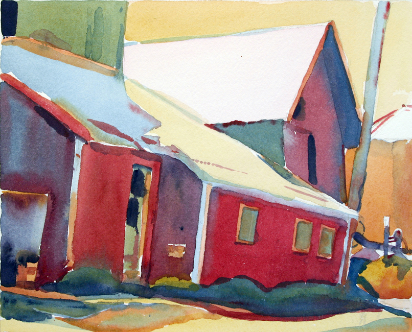 """Milk House, Vermont"", 12"" x 15"", watercolor"
