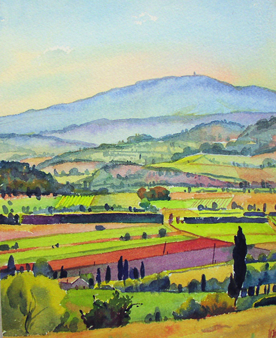 """View from Joucas, Provence"", 14"" x 10"", watercolor"