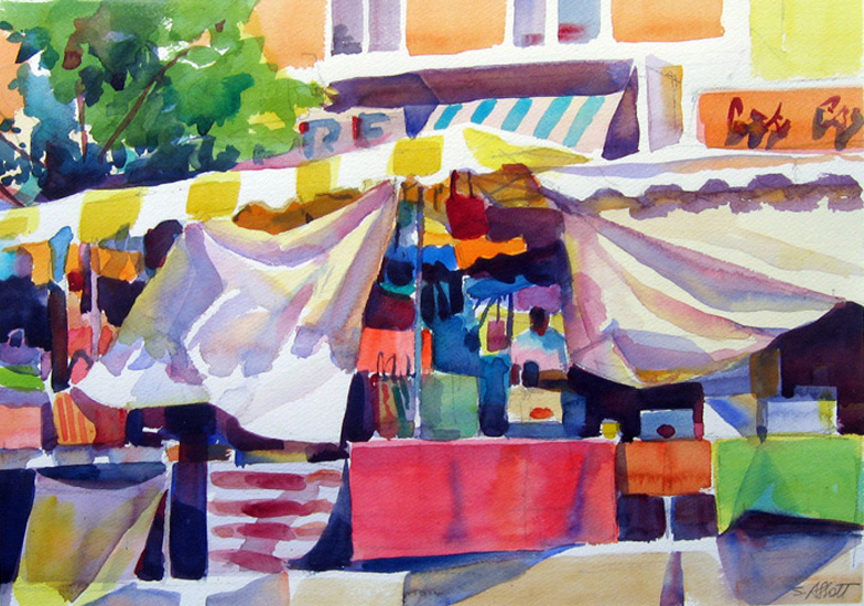 """Breezy Day at the Market, Provence"", 12"" x 16"", watercolor"