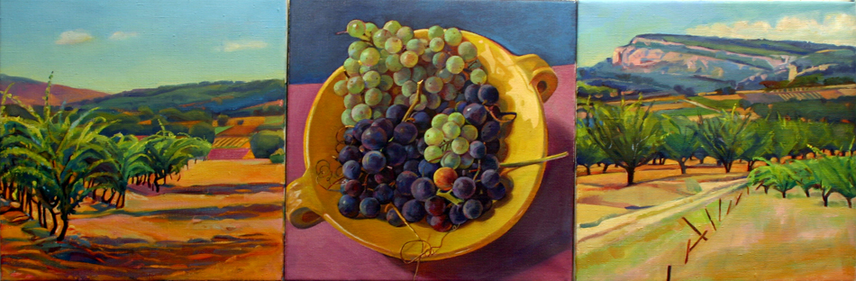 """Grapes and Vineyards, Provence"", 12"" x 36"" (triptych), oil on linen"