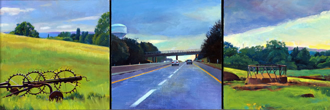 """Fields and Freeway"", 6"" x 18"" (triptych), oil on linen panel"