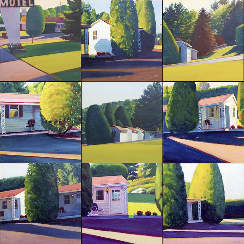 """Motel on Route 302, 28"" x 28"" (9 panels), oil on linen panel"