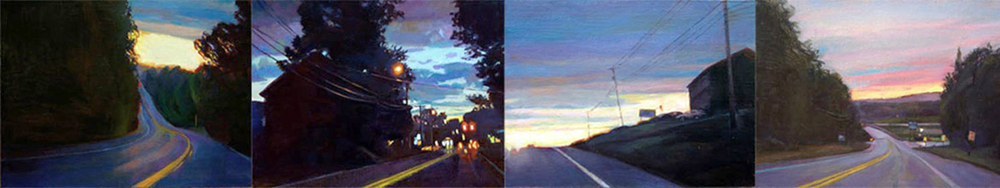 """Nightrides"", 6"" x 32"" (4 panels), oil on linen panel"
