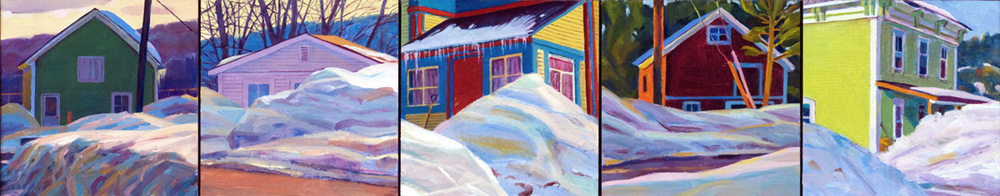 """Five Homes in Winter"", 5"" x 20"" (4 panels), oil on linen panel"