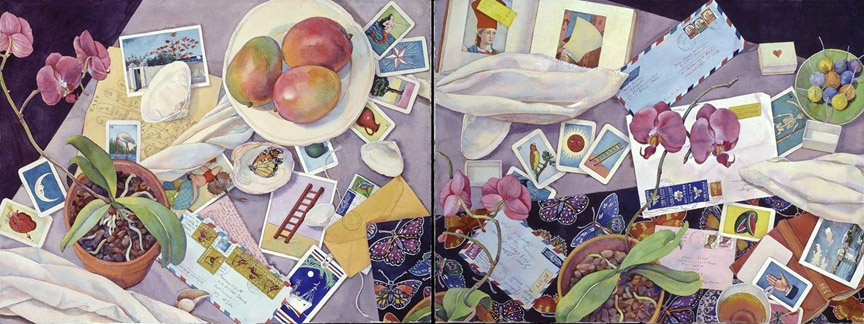 """Orchids and Loteria Cards"", 22"" x 60"" (diptych), watercolor"