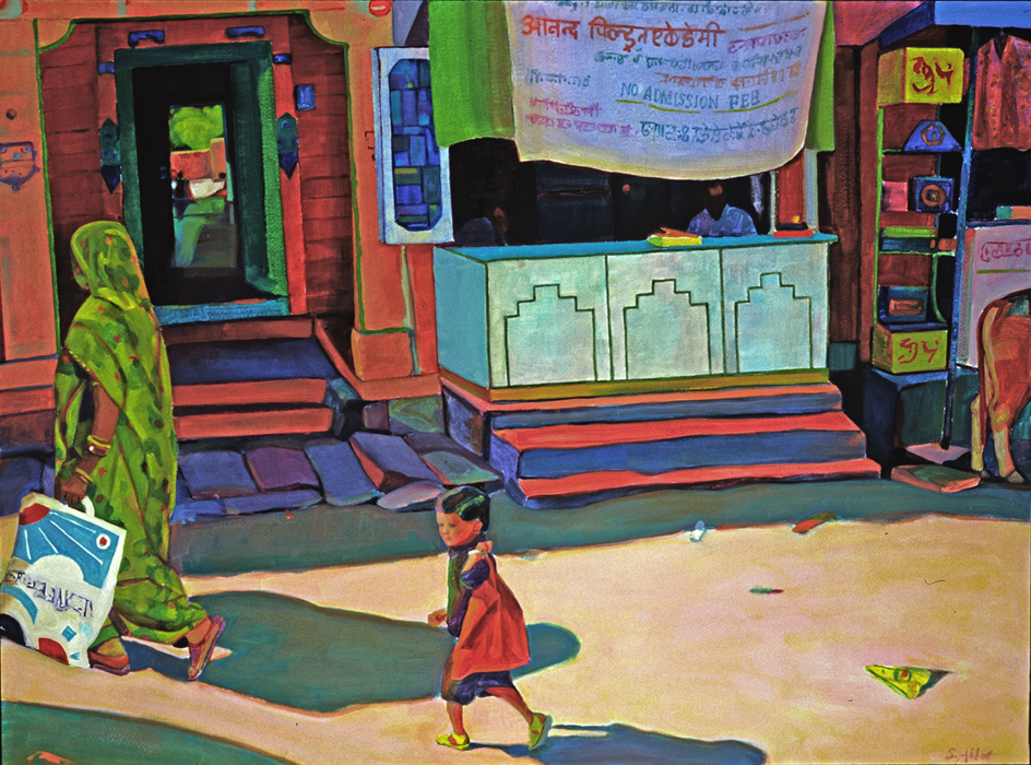 """Doorway in a Sunny Street"", 22"" x 30"", oil on paper"