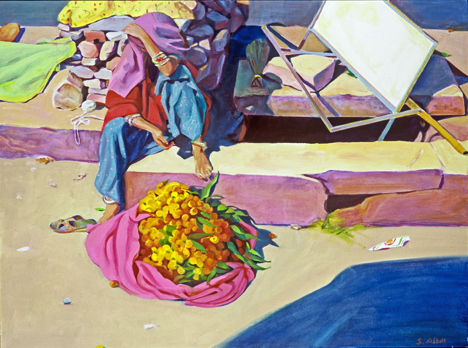 """Marigold Vendor"", 22"" x 30"", oil on paper"