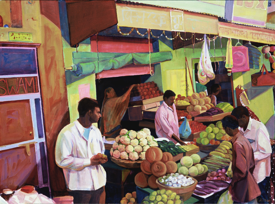 """Produce Stall, Sunset"", 22"" x 30"", oil on paper"