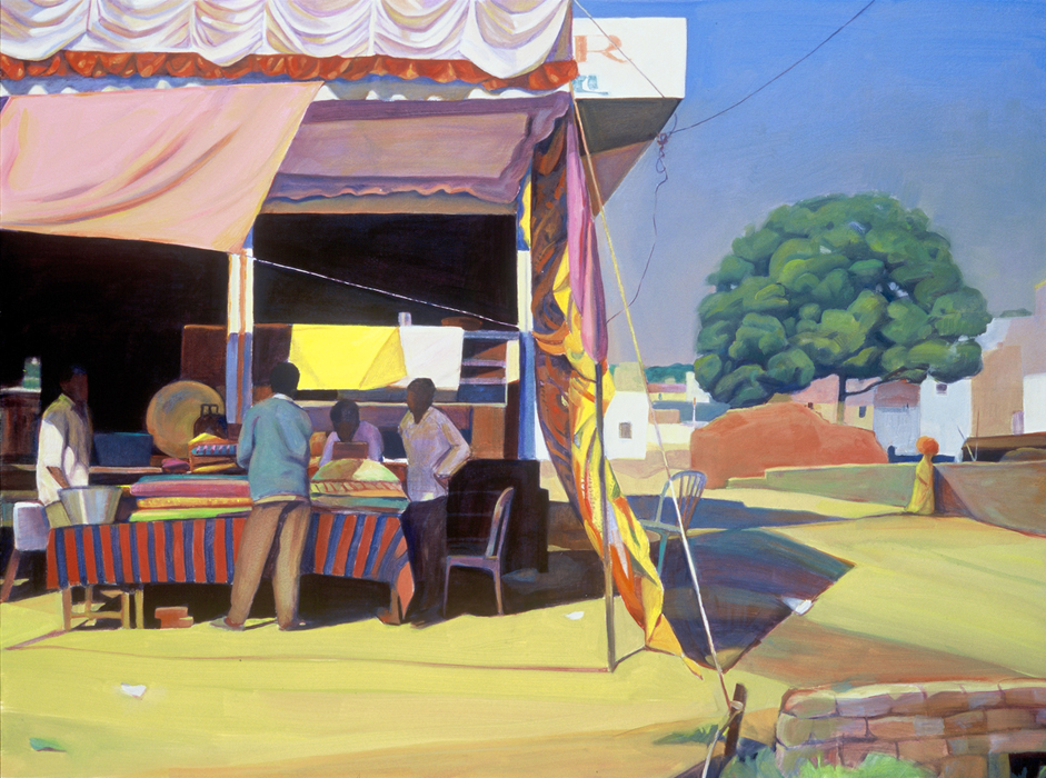 """Shop under the Awning"", 22"" x 30"", oil on paper"