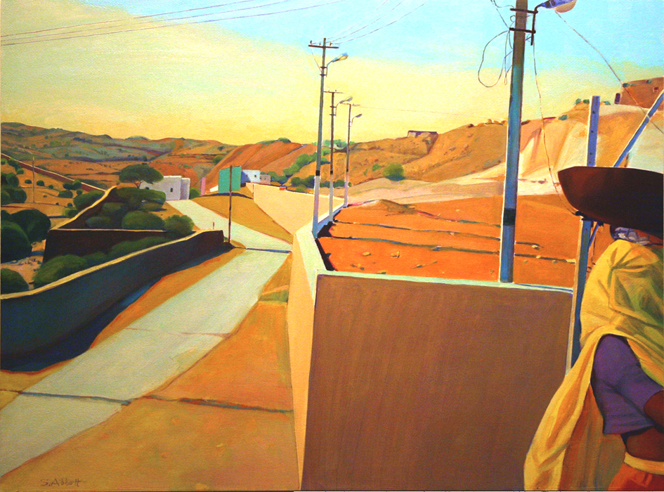 """Road into Town"", 22"" x 30"", oil on paper"