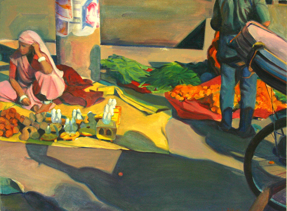 """Street Vender and Rickshaw"", 22"" x 30"", oil on paper"