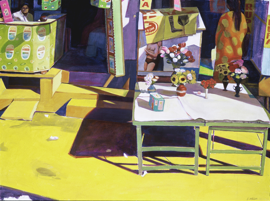 """Table in the Alley"", 22"" x 30"", oil on paper"