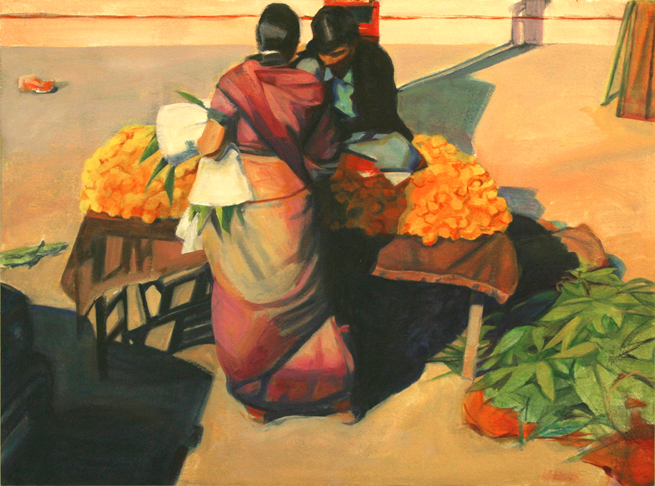 """Buying Marigolds, 22"" x 30"", oil on paper"