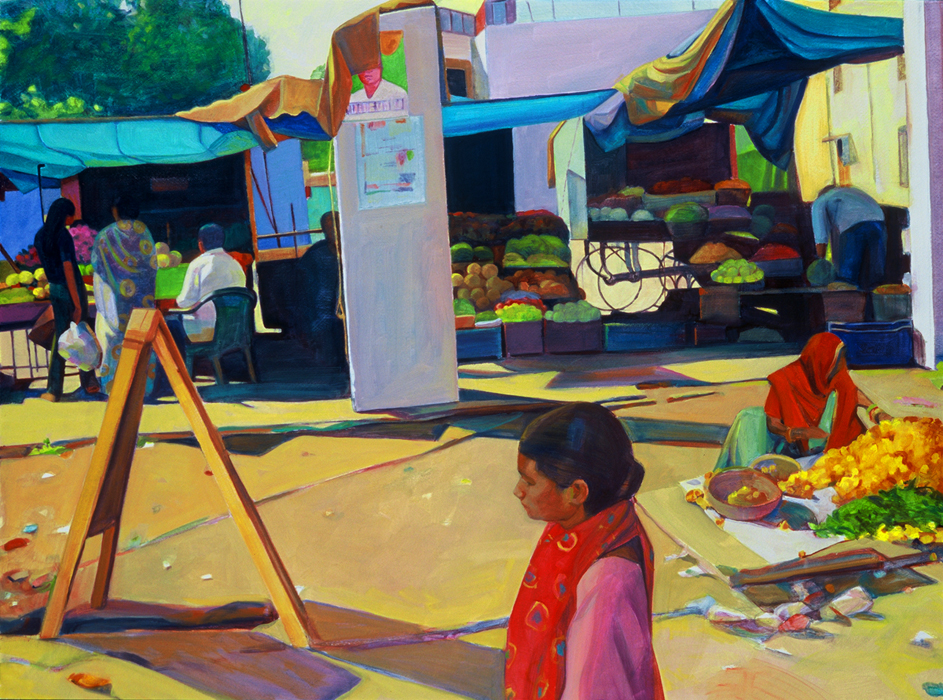 """Morning Market"", 22"" x 30"", oil on paper"
