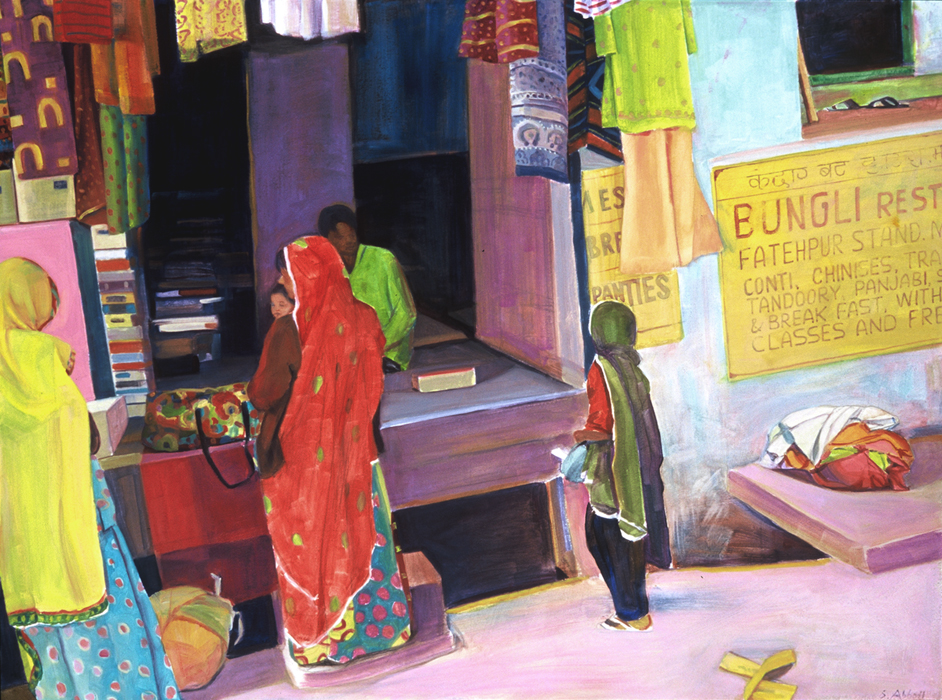 """The Clothing Shop"", 22"" x 30"", oil on paper"