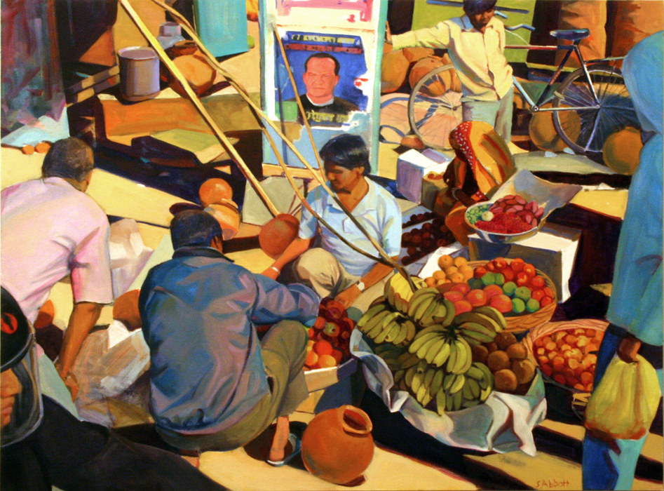 """Street Market"", 22"" x 30"", oil on paper"